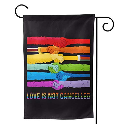 Voglawear Funny LGBT Muppet Hands Love is Not Cancelled Garden Yard Flag Vertical Printing Double Sided Yard Outdoor Decorative