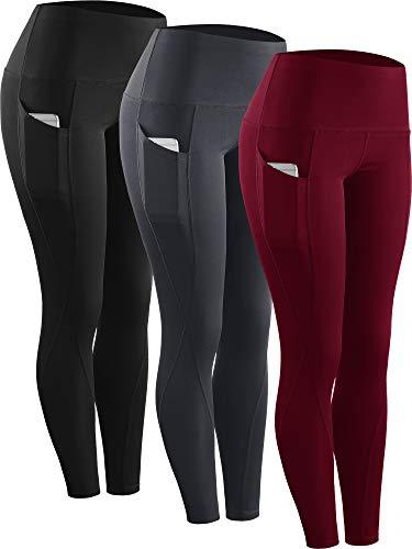 Neleus 3 Pack Tummy Control High Waist Running Workout Leggings,9017,Black,Grey,Red,US L,EU XL