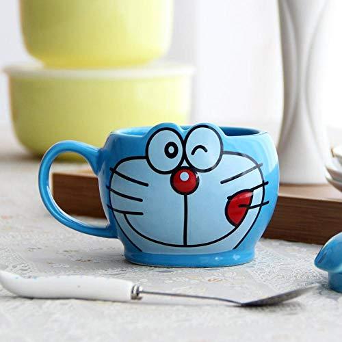 zipkp Doraemon Doraemon Katze Mit Deckel Und Löffel Kreative Cartoon Tasse Keramikbecher Wasser Tasse Kaffeetasse-Tasse + Löffel (Ohne Deckel) _Eine Leckende Zunge