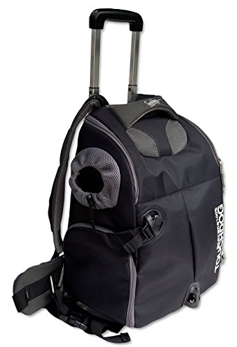 TOUCHDOG 'Wuffle Duffle' 2-in-1 Wheeled Backpack Sporty Fashion Pet Dog Carrier, One Size, Black