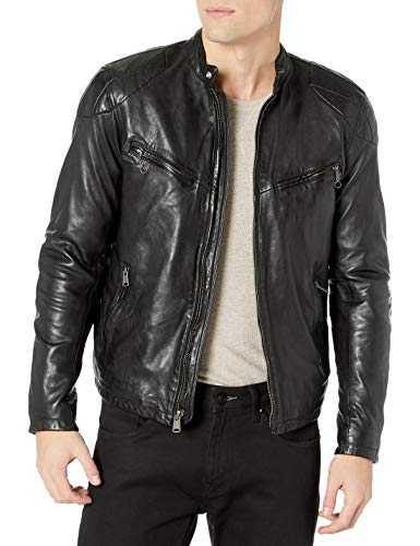 Lucky Brand Men's Vincent Leather Jacket, Black, M