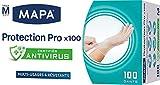 Mapa - Guantes de protección Pro de 100 guantes desechables de vinilo sin polvo y sin látex, con certificado Antivirus – resistentes y multiuso – Caja dispensador de 100 guantes – Talla M