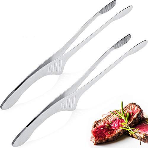 Stainless Steel Grill Tongs Korean Japanese BBQ Tongs Kitchen Tongs for...