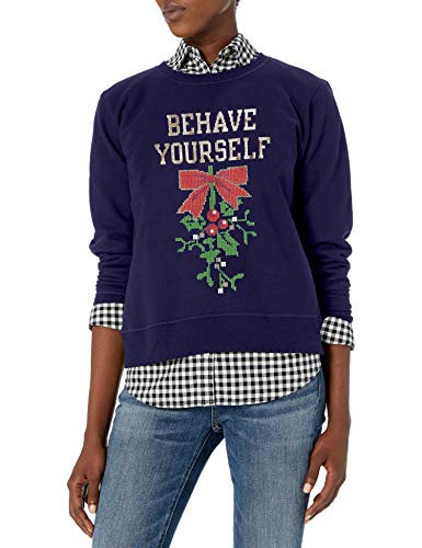 Hanes Women's Ugly Christmas Sweatshirt, Hanes Navy Behave Yourself, S