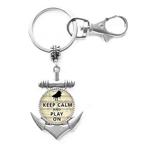 Llavero con texto en inglés 'Keep Calm and Play on Anchor Music Teacher Piano Key Ring Pianist Gift Art Glass Cabujon Christmas Gift Fashion Jewelry,PU260