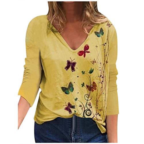 YANFANG Blusa para Mujer Holgada con Estampado de Mariposas de Moda de Verano con Cuello en V Profundo Talla Grande de Manga Corta Casual Adolescente Camiseta (XL, Yellow0213)