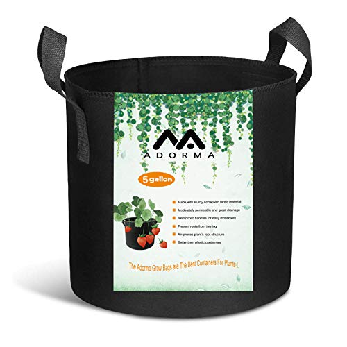Adorma 10 Packs 5 Gallon Grow Bags, Heavy Duty 300G...