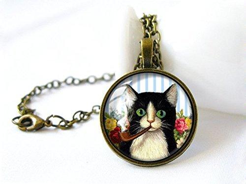 Pipa fumar gato Pedant Collar,Joyería hecha a mano,Collar de cúpula de cristal,Colgante...
