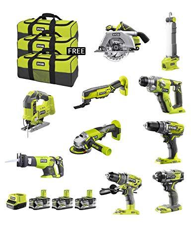 RYOBI Kit RK181035A (R18CS + R18JS + RRS1801M + R18DD3 + R18IDBL + R18SDS + R18MT3 + R18PD7 + R18AG + R18ALF + 3 x 5,0 Ah + RC18120 + Werkzeugtasche)