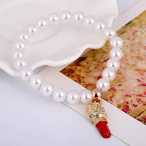 HMKLN Imitation Perle Armband Frauen mit rotem Lippenstift Anhänger Geschenk für Kinder...