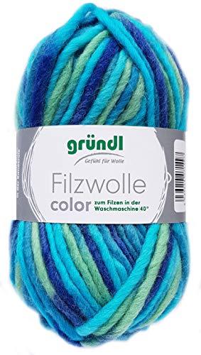 Gründl Filzwolle Color 50g (Türkis Grün Blau 38)