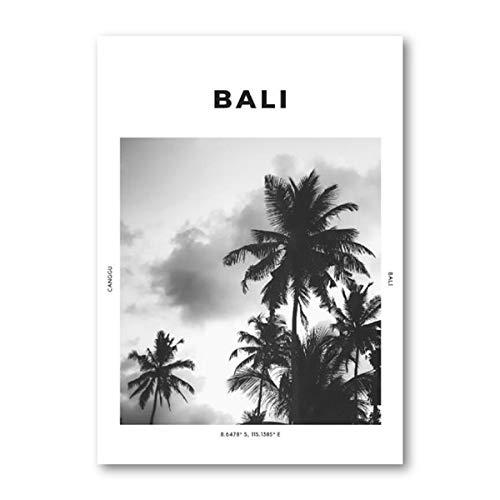 Bali travel print fotografa en blanco y negro pster arte de la pared coordenadas Canggu Ubud palmera cuadro tropical pintura hogar sin marco pintura decorativa en lienzo J67 40x60cm