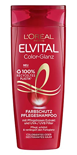L'Oréal Paris Elvital Farbschutz Shampoo für coloriertes, getöntes oder gesträhntes Haar, Color-Glanz Pflegeshampoo, 1 x 300 ml