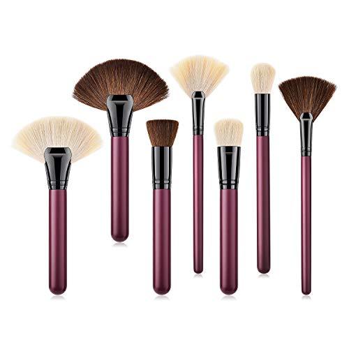 Mobeka 7 pièces Pinceau de Maquillage Professionnel Set, Visage Liquide synthétique Kabuki Yeux Premium crème en Poudre cosmétiques Brosses Kit