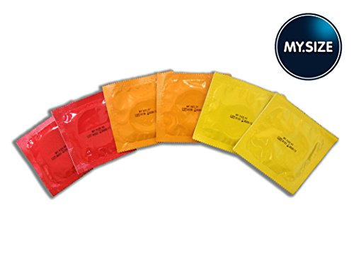 My. Size Condoms Mid-Size Trial Pack - 6 Condoms in Total, 2 of Each Size: 53, 57, 60mm-Vegan