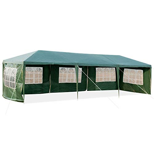 Gazebo 3X9M Waterproof Canopy Removable Sidewalls Windows Shelter Pavilion Garden Wedding Party Outdoor Event Park Camping Marquee Tent Patio Furniture Green
