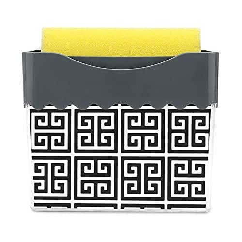 Dispensador de jabón para platos con soporte de esponja 2 en 1, soporte de esponja líquida para fregadero, fregadero, cocina y lavavajillas, llave griega blanca y negra