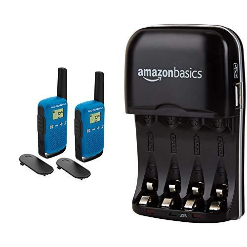 Motorola Talkabout T42 PMR-Funkgeräte (2er Set, PMR446, 16 Kanäle, Reichweite 4 km) blau & Amazon Basics Batterieladegerät für NI-MH AA/AAA Akkus und USB Geräte
