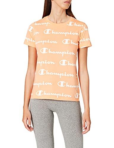 Champion Seasonal AC Logo Allover Crewneck T-Shirt Camiseta, Light Orange, XS para Mujer