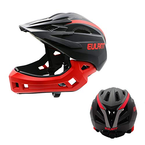 ONT Children's Bicycle Helmet Lightweight Full Face Helmet with Detachable Chin Guard Detachable Visor Kids Downhill Helmet for Balance Bike Scooter Roller Skates Black-Red/S