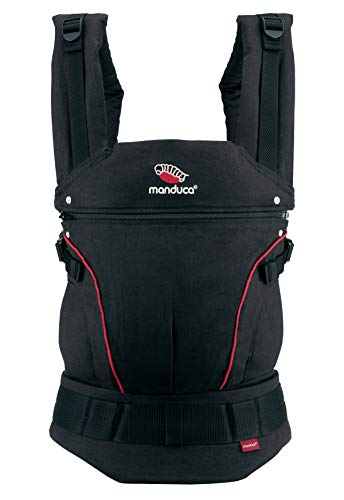 manduca First Baby Carrier > HempCotton zwart-rood/zwart-rood < Ergonomische babydrage, hennep en biologisch katoen, heupriem, uitbreiding van de rugleuning, voor baby's en peuters (3,5-20 kg)