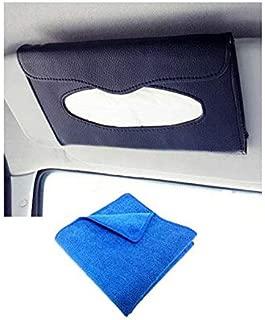 Automaze Car Sun Visor Black Tissue Napkin Box Holder   Interior Accessories   Free Microfiber Cleaning Cloth(30 X 30cm)