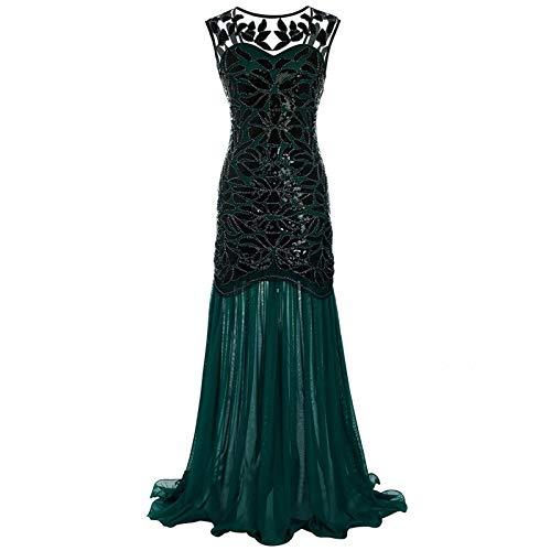 Hunpta Avondjurken elegante lange pailletten jaren 20 baljurken kant party galajurk feestelijke jurken bloemen pailletten bodycon avondjurk zeemeermin