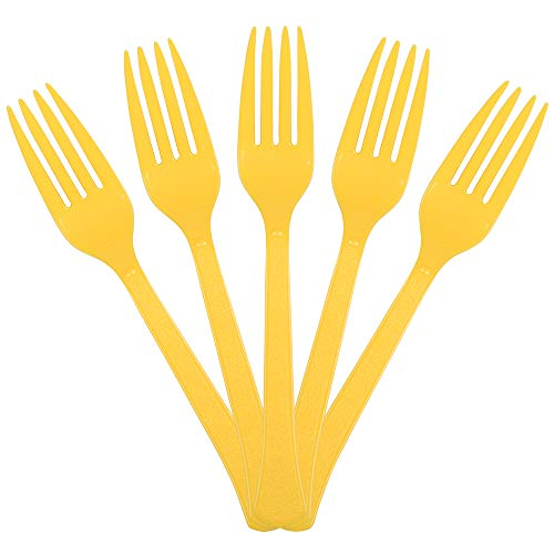 JAM PAPER Premium Utensils Party Pack - Plastic Forks - Yellow - 48 Disposable Forks/Pack