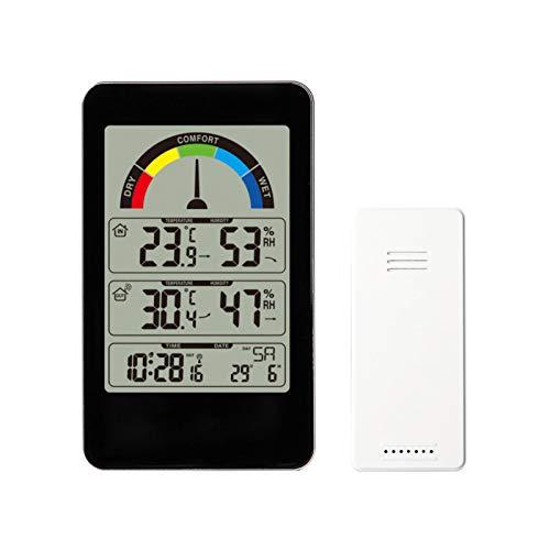 Wangcong Innen- und Außenthermometer und -Hygrometer für den Haushalt,Komfortanzeige,Wandwetteruhr,elektronischer Temperaturtrendwecker