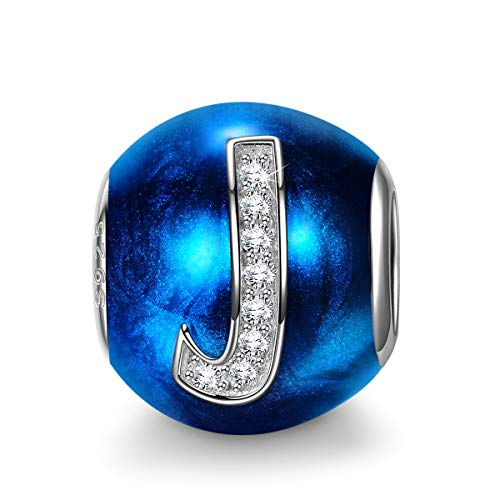 NINAQUEEN Charm fit Pandora Charms Letter J Blue 925 Sterling Silver Women's Gifts for Her with Jewellery Box, fits European Bracelets Compatible