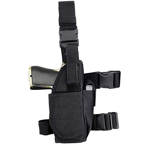 EnriQ Drop Leg Holster Tactical Thigh Airsoft Holster/Firearm Holster/Handgun Holder with Mag Pouch Adjustable Pistol Holster Leg Gun Holster for All 1911 Glock 17/19/20/21/23/26/27 More (Black)