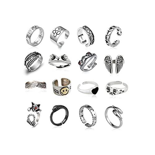 CeFoney Juego de anillos vintage punk para nudillos vintage conjunto de anillos abiertos para animales, aleación de aluminio, anillos apilables góticos, para mujeres, hombres y niñas, 16 unidades