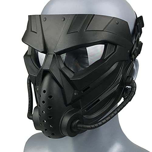 Airsoft Mask Full Face Skull Black Masks Tactical with Clear PC Lens Eyes...