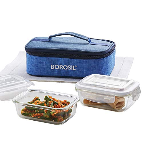 Borosil - Prime Glass Lunch Box Set of 2, 370 Safe Office Tiffin