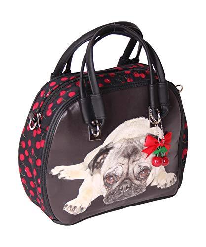 SugarShock Damen Handtasche Elsa-Bintang Pug Cherry, Farbe:Schwarz