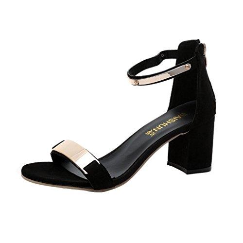Beauty-Luo Sandali Donna con Tacco Eleganti Sandali Estivi Open Toe Sandali Donna Tacchi Spessi Scarpe Gladiatore - Tacco 6cm -Sandali Donna (7.5, Nero)