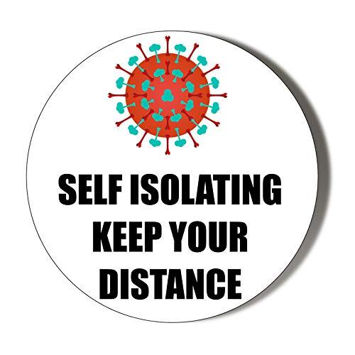 Autosolante – Mantieni la tua distanza – sfondo bianco – apriscatole magnetiche da 58 mm