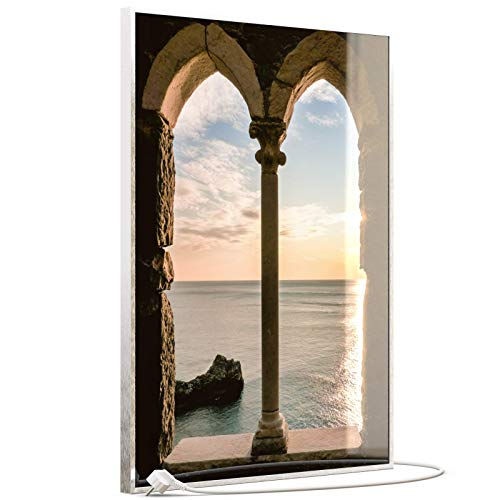 STEINFELD Heizsysteme® Glas Bildheizung Infrarotheizung mit Thermostat | Made in Germany | viele Motive 350-1200 Watt Rahmen silber/alu (500 Watt, 016H Fenster)