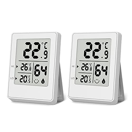 Termómetro Higrómetro Digital para Interior 2 Piezas, Termohigrómetro Mini Medidor de Temperatura Medidor Profesional de Humedad para Casa, Habitación de Bebés, Sala, Oficina, Blanco