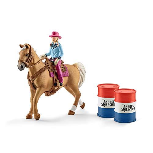 Schleich 41417 Farm World Spielset - Barrel racing mit Cowgirl, Spielzeug ab 3 Jahren
