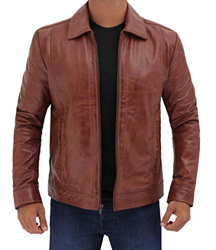 BlingSoul Vintage Style Brown Leather Jacket Men | [1100373] Wick, M