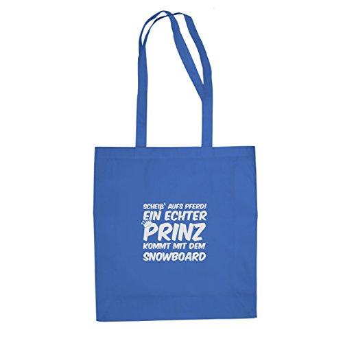 Planet Nerd Ein echter Prinz kommt mit dem Snowboard - Stofftasche/Beutel, Farbe: blau