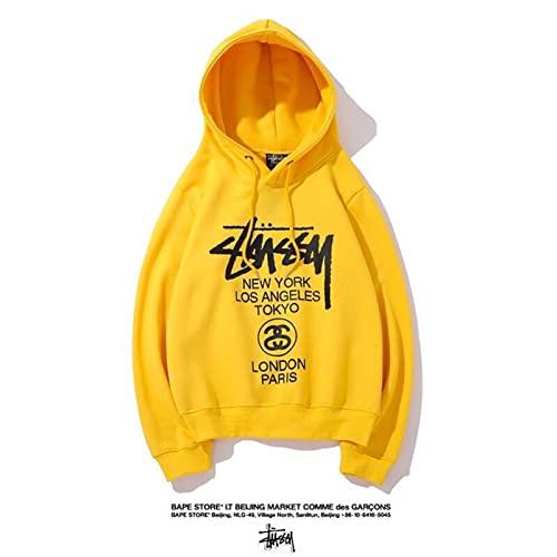 Tiposen Hombres Mujeres Stuss-y Sudadera con Capucha Sudadera con Capucha Jogging Hip Hop Swearshirt Logotipo clásico Algodón Ropa Deportiva Informal (Color : Yellow, Size : XL)