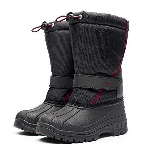 DRKA - Botas de nieve para niños y niñas, impermeables, aisladas, de goma, cálidas, suaves y cálidas, para clima frío, Blk923, 22 MX Niño pequeño