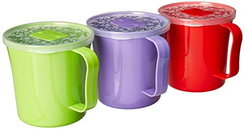 Zilpoo 3 Pack - Soup Mug with Handle and Vented Lid 37 Ounce | Plastic Microwaveable Oatmeal Cereal Cup with Cover | Microwave Safe Lidded Bowl