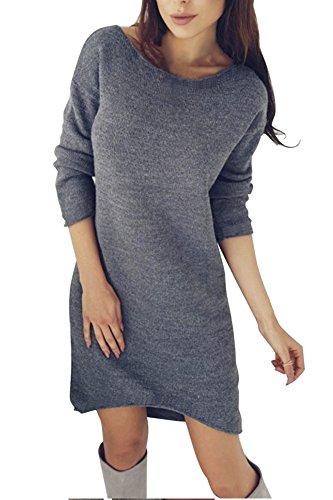 Yidarton Overzised Pullover Damen Winterkleid Pulloverkleid Strickkleid Damen Strickjacke Tops Bluse Frauen Asymmetrischer Langarm Minikleid für Winter