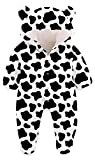 Kids4ever Baby Girl Boy Snowsuit Bear Hooded Warm Fleece Winter Romper(Cow, 6-9 Months)