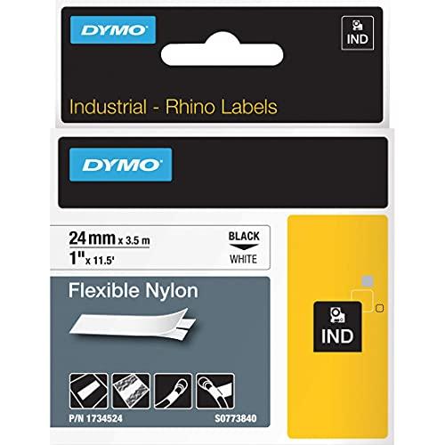 DYMO Industrial Labels, 1', Flex Nylon, Black on White, 1734524
