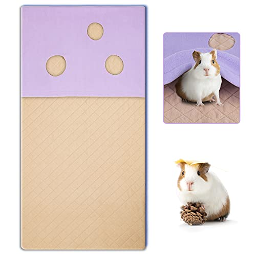 Geegoods Guinea Pig Fleece Cage Liners,Absorbent Odor Bamboo Guinea Pig Cage Liners&Waterproof Bottom,with Burrowing Pocket Washable Pee Pads for Guinea Pigs,and Small Animals Rabbit
