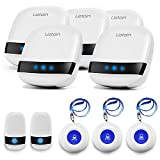 LIOTOIN Caregiver Pager Wireless SOS Call Button Nurse Alarm System Home/Elderly/Patient/Disabled/School Call Bell 5 Transmitter 5 Plug-in Receiver (600+ft Operating Range)